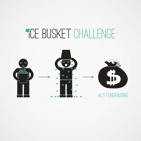 Ice Bucket Challenge - fund raising  vector concept. Viral social activity. People dumping buskers of cold icy water on themselves for charity and donations. Illustration