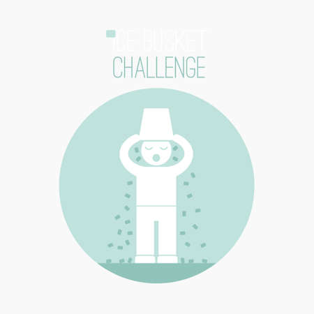 Ice Bucket Challenge - fund raising  vector concept. Viral social activity. People dumping buskers of cold icy water on themselves for charity and donations. Vector