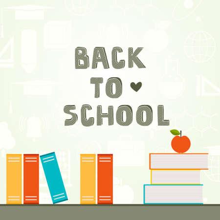 sujeto: Volver a la escuela de fondo vector detallada con los libros y los iconos sujetos escolares. Educaci�n Perfecto dise�o relacionado. Vectores
