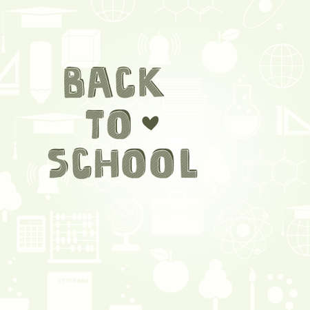 Back to school detailed vector background with cute hand drawn typography element. Perfect education related design. Template for your design with lots of college icons. Vector
