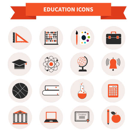 educational subject: Perfect education icons made in modern flat style. School related pictograms made in vector. E-learning or classic education illustrations.