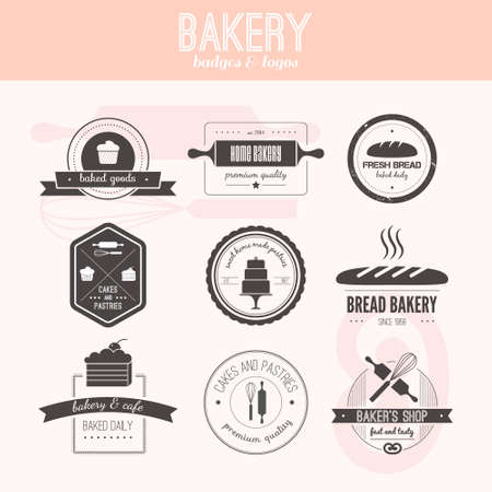 Set of vector bakery . Bread and pasteries labels, badges and design elements. Fresh baked goods.