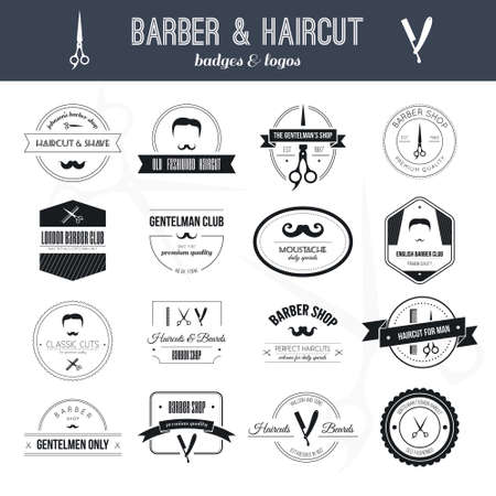 hairdresser shop: Perfect set of barber and haircut icon. Mens haircuts collection made in vector. Badges, labels and design elements. Illustration