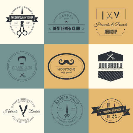 barber scissors: Perfect set of barber and haircut . Mens haircuts  collection made in vector. Badges, labels and design elements.