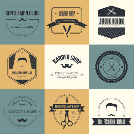 hairdresser shop: Perfect set of barber and haircut logos. Mens haircuts logo collection made in vector. Badges, labels and design elements.