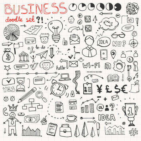 Set of business doodle elements made in vector. Idea, businessman, creative thinking, progress, graphs and all other kinds of business related elements.
