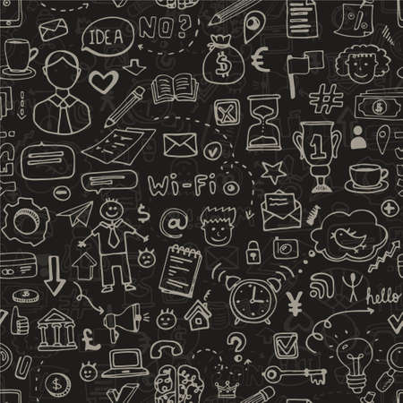 Seamless background with business doodle elements. Business hand drawn texture made in vector. Sketch style pattern. Vector
