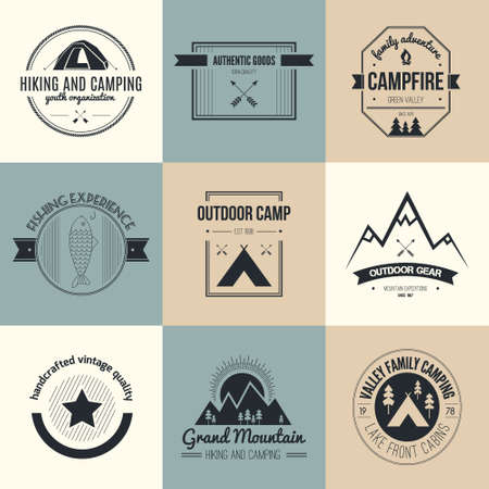 Camping and outdoor activity icon collection - mountain gear, hiking, summer camp labels, badges and design elements made in flat vintage vector style. Vector