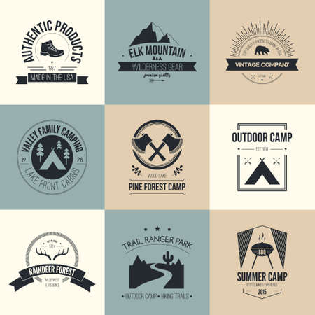 alps: Camping and outdoor activity logo collection - mountain gear, hiking, summer camp labels, badges and design elements made in flat vintage vector style.