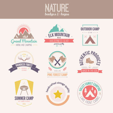Camping and outdoor activity logo collection - mountain gear, hiking, summer camp labels, badges and design elements made in flat vintage vector style. Vector