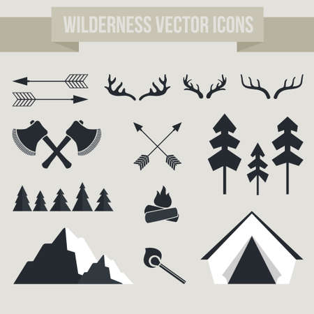 camping tent: Vector camping elements - campfire, tent, antlers, arrows, forest, mountain, matches. Outdoor activity symbols.