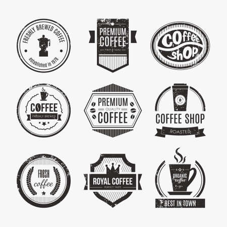 Vector set of coffee shop icons, restaurant or bar  design elements with mugs and beans. Ribbons, circle shapes, lables, insignias with coffee related elements. Vintage and retro styled quality badges. Vector