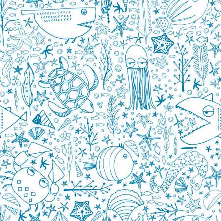 starfish: Carino disegnato a mano senza soluzione di modello con le creature d'acqua realizzati in vettoriale. Underwater trama vita. Pesce, tartarughe, stelle marine, granchi, squali, polpi.