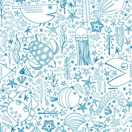 Cute hand drawn seamless pattern with water creatures made in vector. Underwater life texture. Fish, turtle, starfish, crab, shark, octopus. Ilustracja