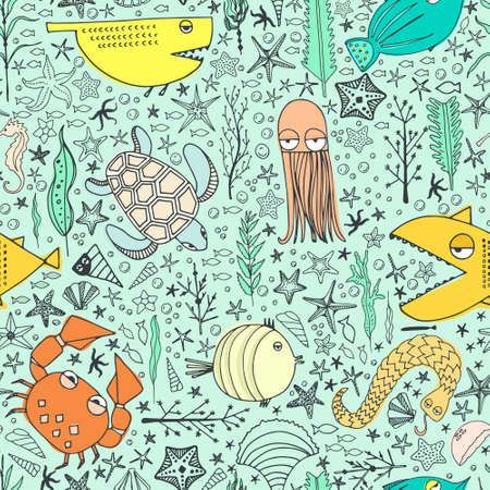 Cute hand drawn seamless pattern with water creatures made in vector. Underwater life texture. Fish, turtle, starfish, crab, shark, octopus. Vettoriali
