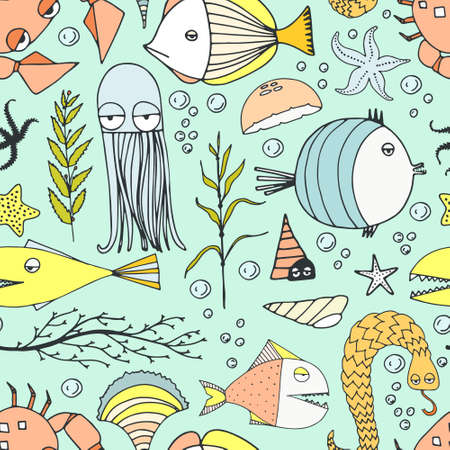 Cute hand drawn seamless pattern with water creatures made in vector. Underwater life texture. Fish, turtle, starfish, crab, shark, octopus. Illustration