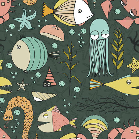 Cute hand drawn seamless pattern with water creatures made in vector. Underwater life texture. Fish, turtle, starfish, crab, shark, octopus. Vector