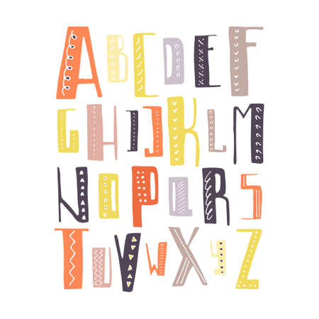 Cute hand drawn alphabet made in vector. ABC for your design. Easy to use and edit letters. Vector