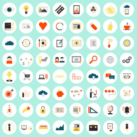 Really big set of 64 modern flat icons on SEO and internet usage. Search optimization, keywording, data visualization, interface planning, social networking  teamwork symbols. Each icon labeled with its meaning. Vector