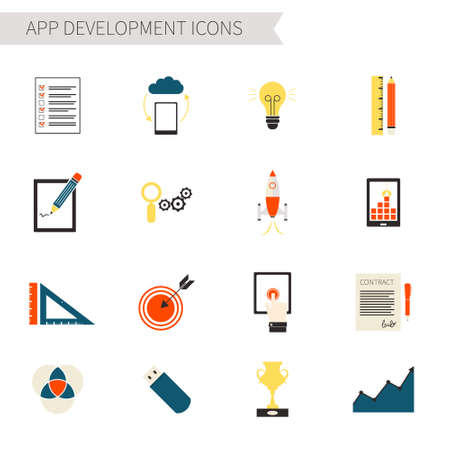 todo: Set of flat app development icons - startup, app building, progress, target,to-do list, contract, touchscreen, idea pictograms.
