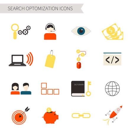 search optimization: Set of flat search optimization icons. Search engine, startup, support, keywords, code, money, pay per click, clients, network, structure - internet marketing set.