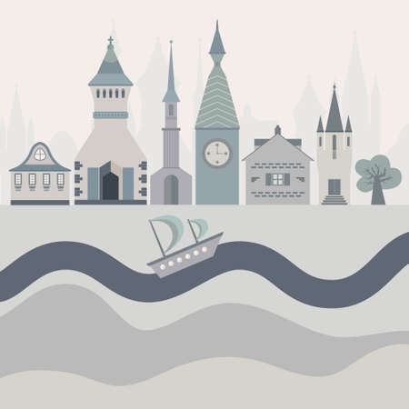 Vector illustration of a fairytown with different castles, river and ship.