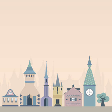 Template for an invitation or card with beautiful castles made in flat style. Vector fairytale illustration. Vector