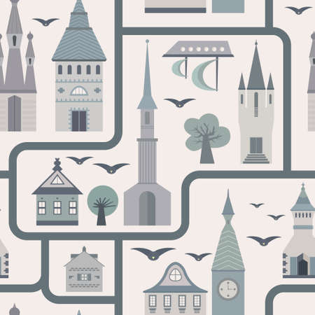 Seamless pattern with ancient town - castles, streets, houses, trees, birds, ship. Fairytale vector texture. Vector