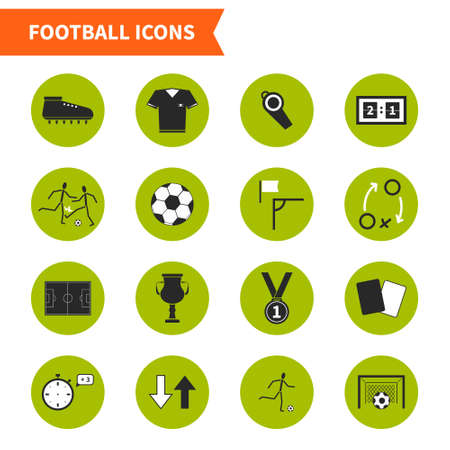Set of modern flat soccer icons. Vector football symbols, including goal, players, uniform, ball, medal, prize. Pefect set of sport pictograms for web site or an app.