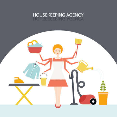 housekeeping: Busy housekeeper simultaneously doing many tasks around the house. House work concept illustration made in vector. Young pretty girl doing house work. Vector character. Illustration of housekeeping agency. Illustration
