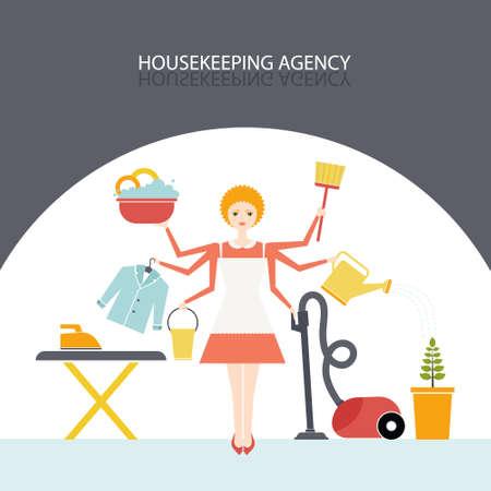 Governante occupato contemporaneamente fare molte attività intorno alla casa. Lavoro Casa concetto illustrazione fatta in vettoriale. Piuttosto giovane ragazza facendo lavori di casa. Carattere vettoriale. Illustrazione di agenzia di pulizie.