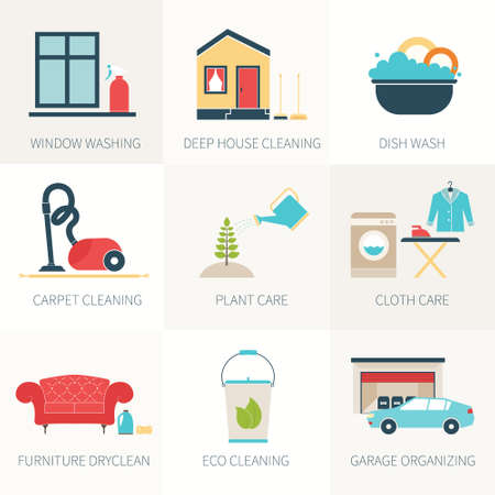 cleaning equipment: House cleaning vector - ironing, dish wash, vacuum cleaning, plant care, furniture dry-clean, window treatment.