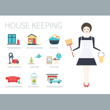 housekeeping: Illustration of a young women doing house work with different housekeeping icons made in modern flat style. Washing machine, ironing, plant care, window and furniture cleaning, dish washing.