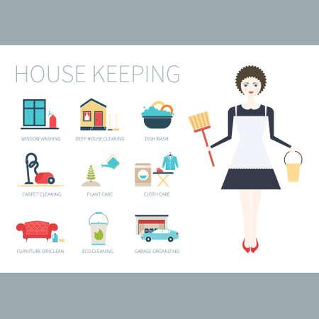 orden y limpieza: Ilustraci�n de una mujer joven que hace el trabajo de casa con diferentes iconos de limpieza realizadas en estilo moderno apartamento. Lavadora, plancha, cuidado de las plantas, ventanas y muebles de la limpieza, lavado de vajilla. Vectores