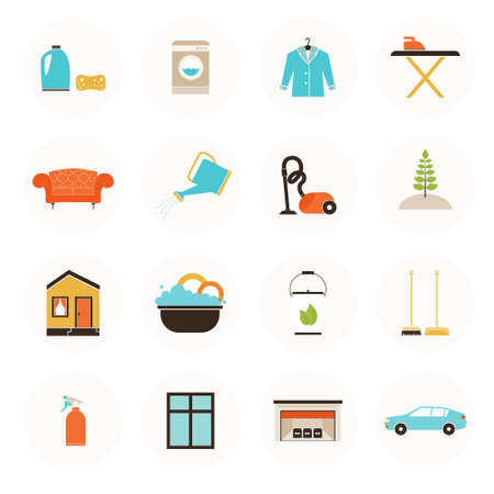 Set of modern housekeeping icons, including vacuum cleaning, carpet clean, window, garage, car, furniture, ironing, dust removal, plant care, dish wash. Perfect house care symbols. Vector