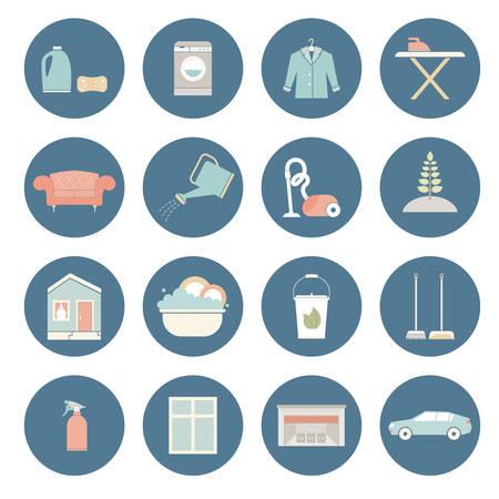 Huis schoonmaken vector - strijken, afwas, stofzuigen, het verzorgen van planten, meubels chemisch reinigen, venster behandeling.