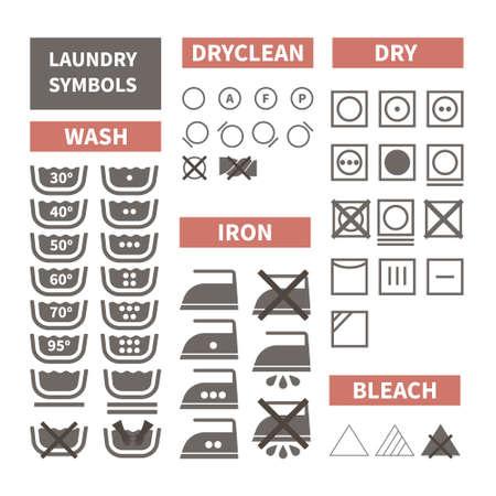 Platte set van wasgoed pictogrammen. Perfect doek labels gemaakt in moderne stijl. Was instructies voor verschillende soorten textiel. Strijken, met de hand wassen, wasserette temperatuur.