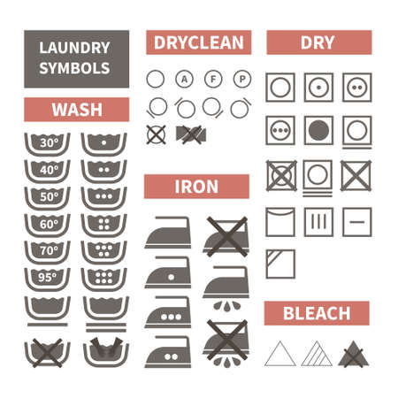 istruzione: Set Piatto di icone di lavanderia. Etichette di stoffa perfetti realizzati in stile moderno. Istruzioni di lavanderia per i diversi tipi di tessuto. Stireria, lavaggio a mano, temperatura lavanderia.