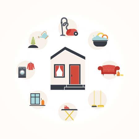 Maison Vecteur De Nettoyage Notion   Repasser, Lave Linge, Aspirateur,  Entretien Des