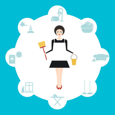 maid service: Vector illustration of a modern cute housewifes surrounded by house work - window and carpet cleaning, vacuum cleaning, plant care, cloth washing and ironing.