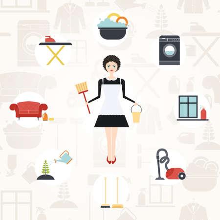 dish washing: Illustrazione di una giovane donna facendo lavori di casa con diverse icone di pulizia realizzati in stile moderno appartamento. Lavatrice, stirare, cura delle piante, finestre e mobili di pulizia, lavaggio delle stoviglie.