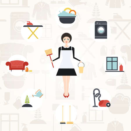 Illustration of a young women doing house work with different housekeeping icons made in modern flat style. Washing machine, ironing, plant care, window and furniture cleaning, dish washing.