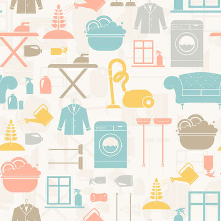 purge: Seamless pattern of house cleaning icons. Vector seamles illistration of housekeeping with all main housework symbols - washing, cleaning, vacuum cleaning.