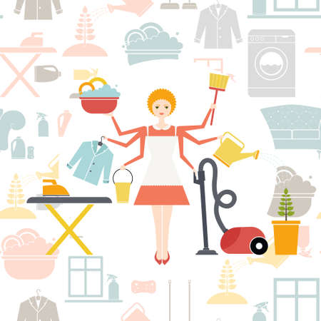 housekeeper: Busy housekeeper simultaneously doing many tasks around the house. House work concept illustration made in vector. Young pretty girl doing house work. Vector character.