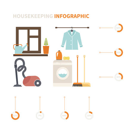 cleaning equipment: Modern housekeeping infographic. Perfect design to show work around the house for journal, blog or housekeeping agency. Modern flat apartment with different housework icons made in vector.
