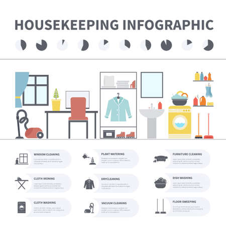 household chores: House cleaning infographic made in vector