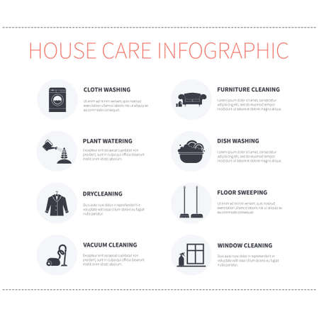 cleaning cloth: Modern housekeeping infographic. Perfect design to show work around the house for journal, blog or housekeeping agency. Modern flat apartment with different housework icons made in vector.