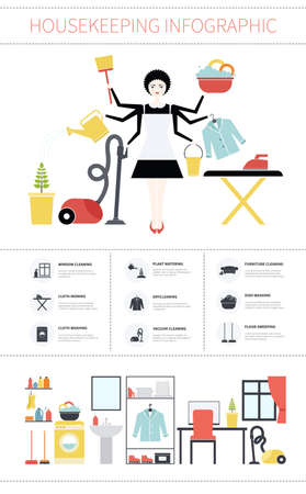 House cleaning infographic. House work concept illustration made in vector. Young pretty girl doing house work. Vector