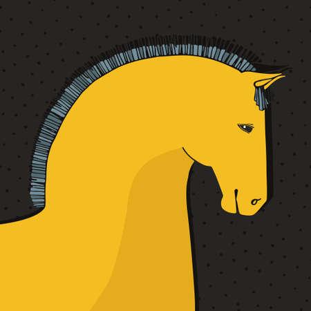 功妙な手は馬の水玉模様の黒の背景に描画されます。完璧なカードのテンプレート ベクトルで行われました。馬の図。美しい種牡馬。