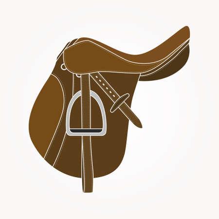 horse saddle: Dettagliata illustrazione realistica sella di cavallo fatta in vettoriale. Alimentazione del cavallo in pelle perfetta. Elemento Equine made in colore marrone.